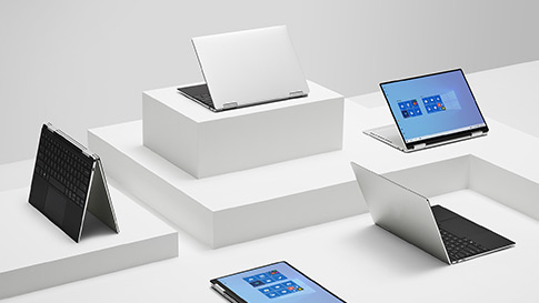 Mehrere Windows 10-Laptops auf dem Tabletop-Display