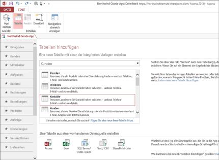 Dieser Screenshot einer Datenbankanwendung in Access 2013 zeigt, wie einfach Tabellen hinzugefügt werden können.
