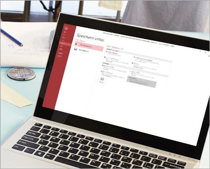 Ein Laptop mit der Funktion ''Speichern unter'' in Access