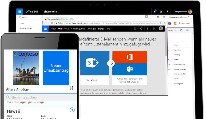 Ein Urlaubsantrag auf einem Smartphone, unterstützt von Microsoft Flow auf einem Tablet-PC