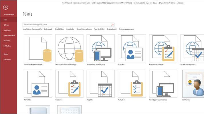 Der Bildschirm für neue Datenbanken in Microsoft Access