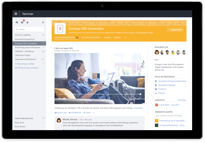 Ein Surface-Tablet mit einer Yammer-Unterhaltung zwischen Teammitgliedern. Can we make this a mobile experience with CEO Connection?