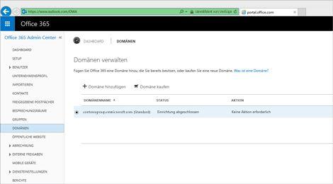 Nahaufnahme einer Seite aus dem Office 365 Admin Center, auf der Exchange Online Protection verwaltet werden kann