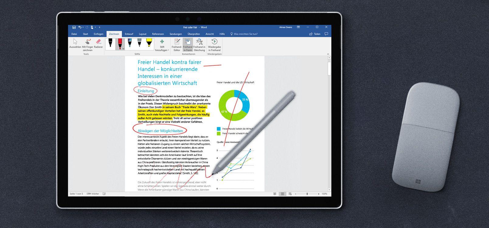 Tabletbildschirm mit dem Freihand-Editor