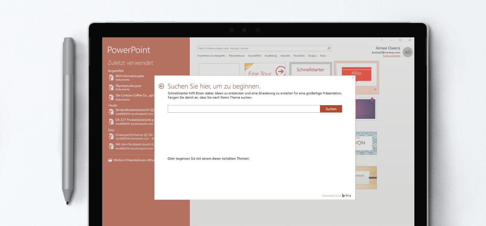 Tabletbildschirm, auf dem ein PowerPoint-Dokument mit der Schnellstarter-Funktion dargestellt wird
