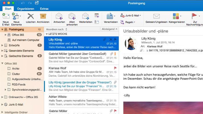 Screenshot eines Microsoft Outlook 2016-Posteingangs mit Nachrichtenliste und Vorschau