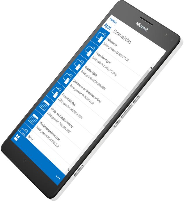 Mobiles Gerät mit SharePoint beim Zugriff auf Informationen, Informationen über SharePoint Server 2016 auf Microsoft TechNet