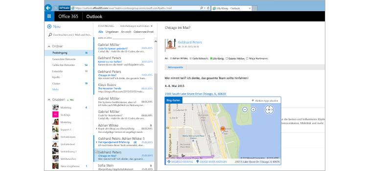 Nahaufnahme des Posteingangs eines Benutzers in Outlook im Web unterstützt von Exchange