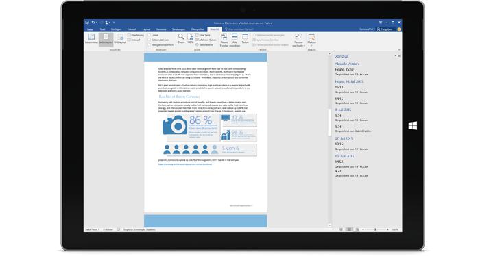 Ein Tablet mit dem Versionsverlauf eines Dokuments in Office 365