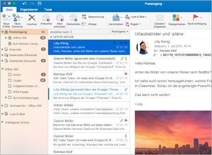 Screenshot eines Microsoft Outlook 2013-Posteingangs mit Nachrichtenliste und Vorschau.