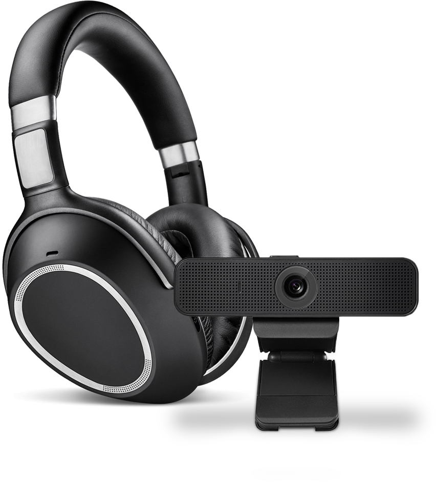 Kopfhörer und Webcam