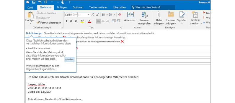 Nahaufnahme eines Richtlinientipps in einer E-Mail, mit dem verhindert werden soll, dass Benutzer vertrauliche Informationen senden.