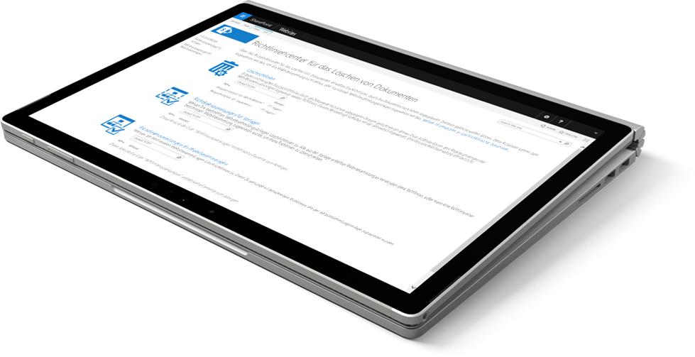 Laptop mit dem SharePoint-Richtliniencenter zum Löschen von Dokumenten