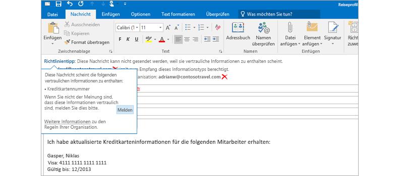 Nahaufnahme einer E-Mail-Nachricht mit einem Richtlinientipp, der den Versand vertraulicher Informationen verhindern soll