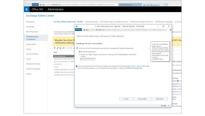 """Nahaufnahme der Seite """"In-Situ-eDiscovery und -Speicher"""" im Exchange Admin Center"""