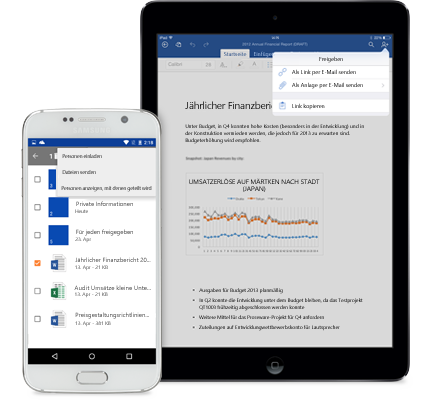 """Ein Tablet und ein Smartphone mit dem Menü """"Freigeben"""" in OneDrive for Business"""