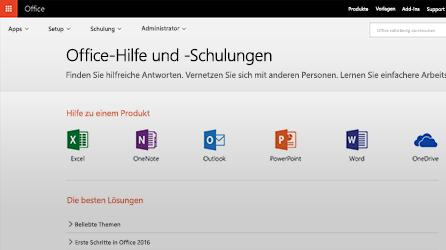 """Screenshot der Seite """"Office-Hilfe und -Schulungen"""" in Office 365"""