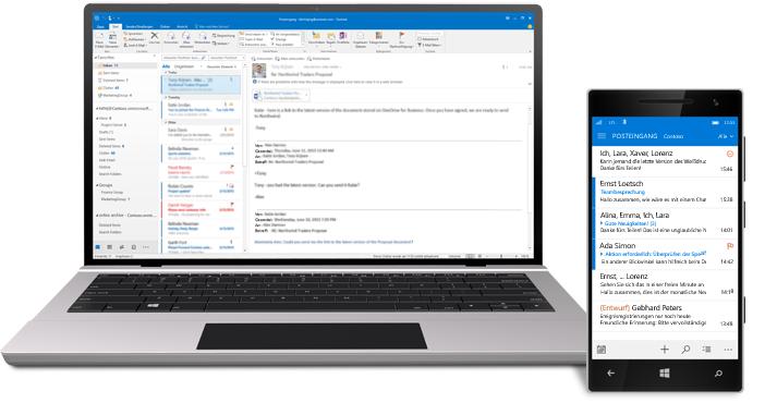 Ein Tablet und ein Smartphone, auf denen ein Office 365-E-Mail-Posteingang angezeigt wird