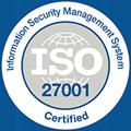 Logo für ISO-Zertifizierung, Informationen zum ISO/IEC 27001-Zertifikat