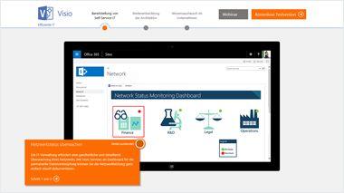 Bildschirm mit Visio-TestDrive, geführte Tour durch Visio