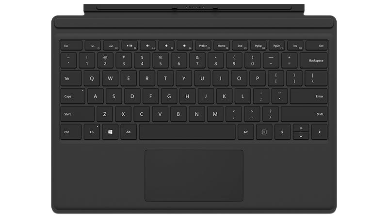 Frontansicht eines schwarzen Surface Pro 4 Type Cover
