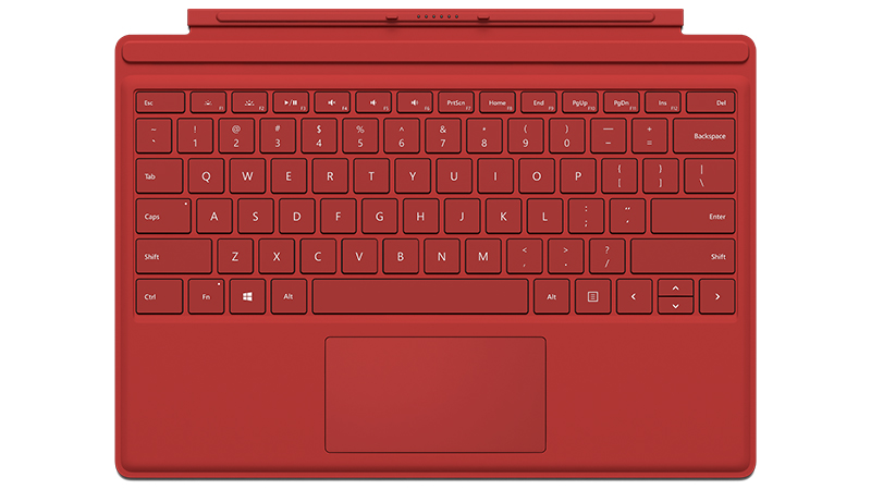 Frontansicht eines roten Surface Pro 4 Type Cover