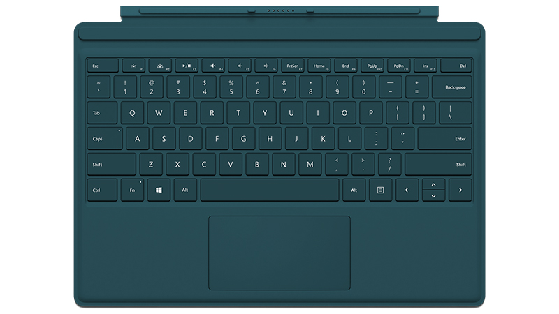 Frontansicht eines petrolfarbenen Surface Pro 4 Type Cover
