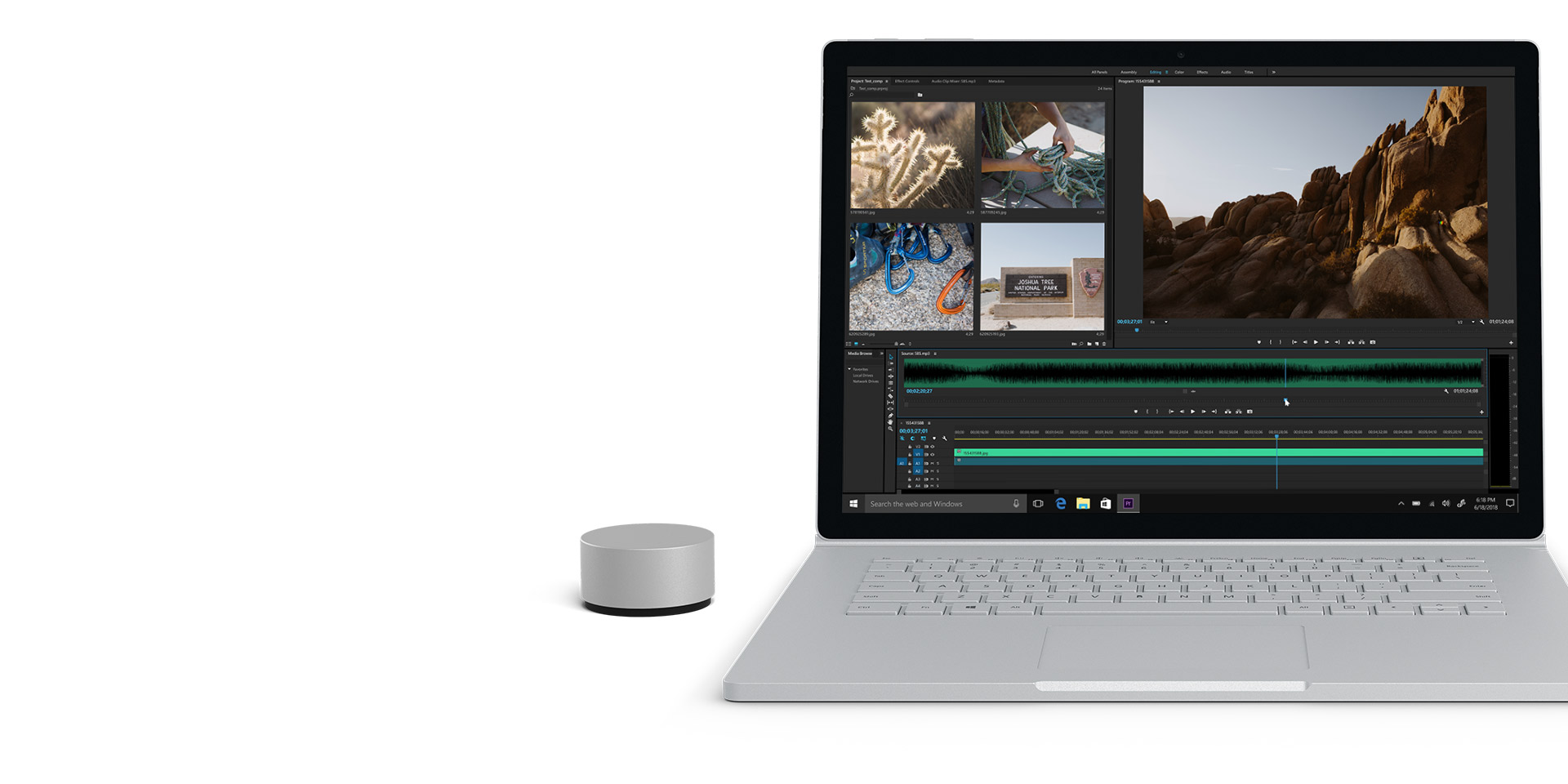 Surface Book 2-Display mit geöffnetem Adobe Premiere Pro