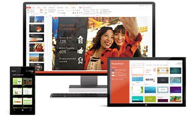 Ein Smartphone, ein Desktopmonitor und ein Tablet – Office 365 ist immer dabei.