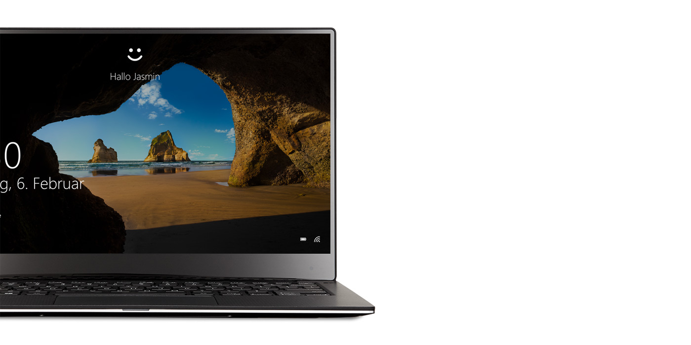 Windows 10-Laptop mit Windows Hello-Bildschirm