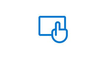 Hand über einem Tablet, die den Bildschirm berührt