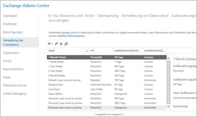 """Nahaufnahme der Seite """"Verwaltung der Compliance"""" im Exchange Admin Center"""
