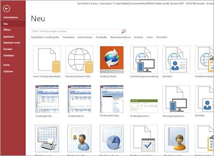 Screenshot einer Datenbank-App-Vorlage