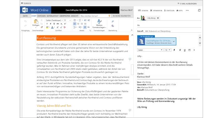 Eine E-Mail in Word Online, daneben die Vorschau einer Dokumentanlage