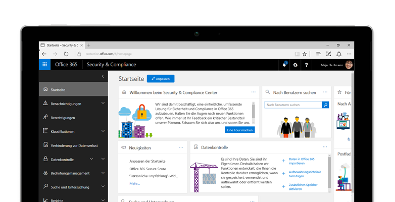Tablet mit der Startseite des Office 365 Security and Compliance Centers