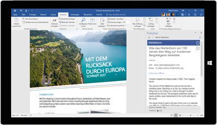 Tabletbildschirm mit einem Word-Recherche-Dokument über Rucksacktouren in Europa, Informationen zur Dokumenterstellung mit integrierten Office-Werkzeugen
