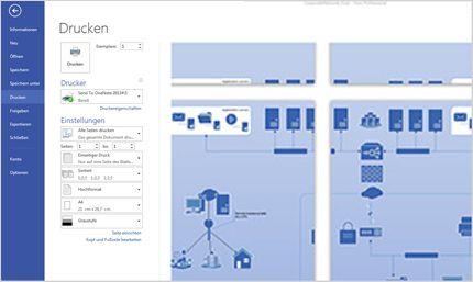 """Screenshot der Seite """"Drucken"""" in Visio Standard 2013, auf der Sie eine Vorschau Ihrer Diagramme anzeigen können"""