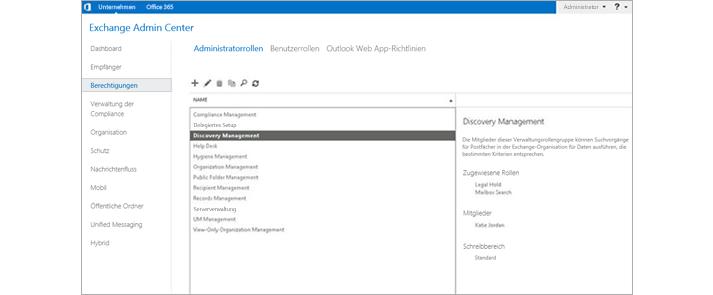 Screenshot der Berechtigungsseite im Exchange Admin Center, auf der Administratorrollen verwaltet werden können.
