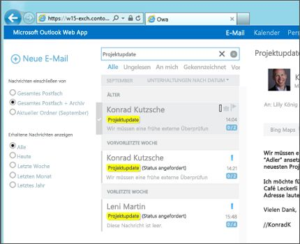 Nahaufnahme des Posteingangs eines Benutzers in Outlook Web App
