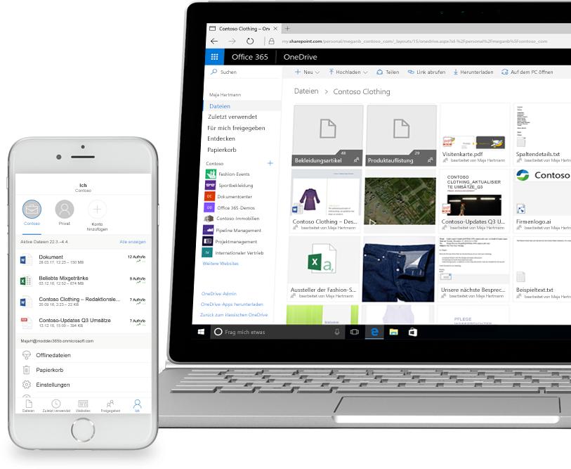 Dateien in SharePoint auf einem Smartphone und einem Laptop