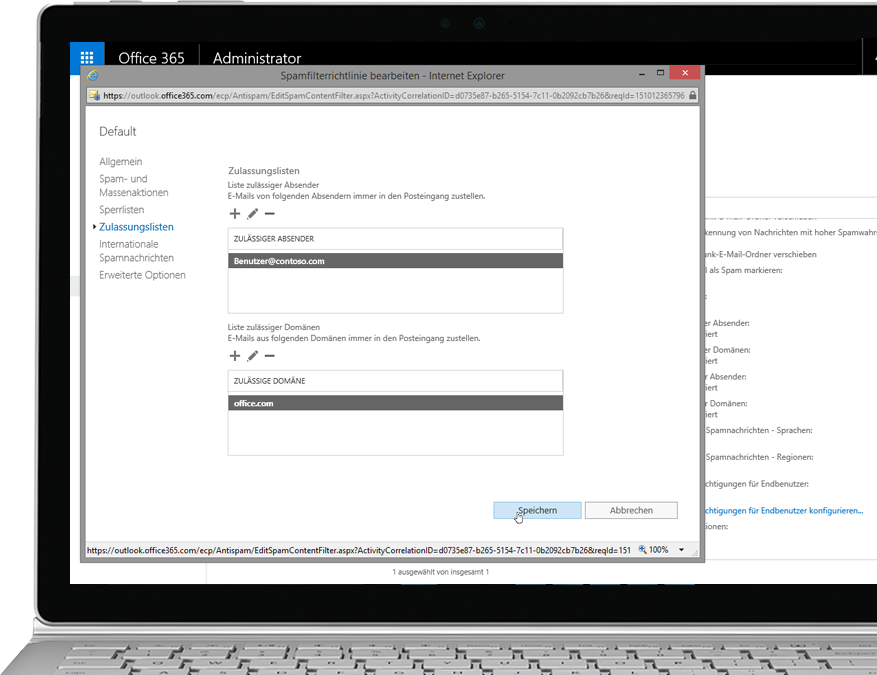 Office 365 Exchange Online Protection-Filterrichtlinie auf einem Windows-Laptop