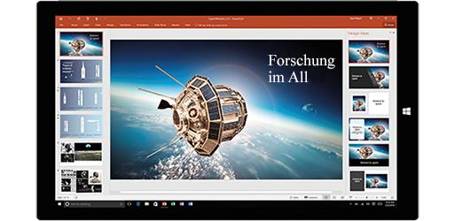 Tabletbildschirm mit einer Präsentation über Weltraumforschung, Informationen zum Erstellen von Dokumenten mithilfe integrierter Office-Werkzeuge