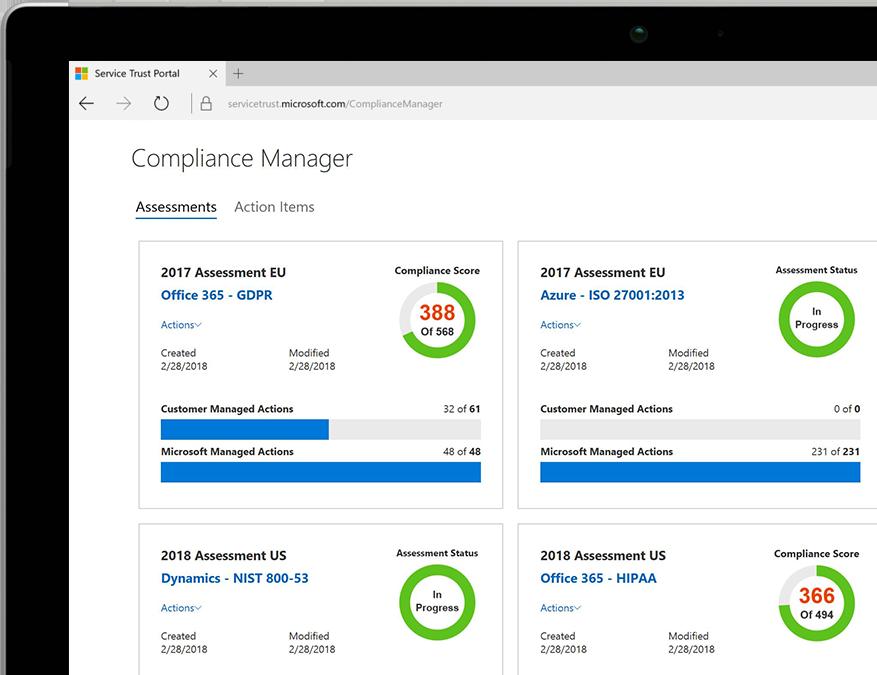 Ein Tablet, auf dem der Compliance-Manager in Office 365 angezeigt wird