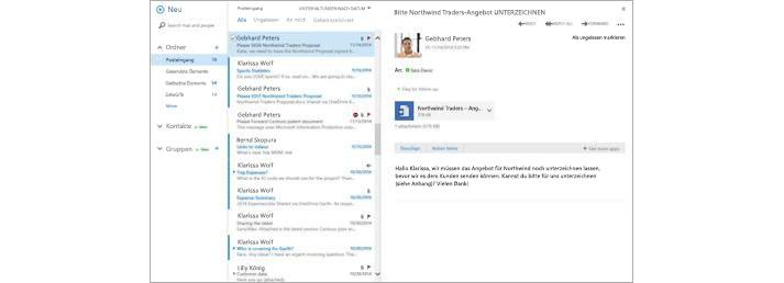 Ein E-Mail-Posteingang mit einer neuen Nachricht im Vorschaubereich