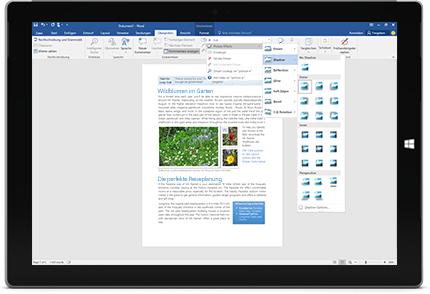 """Ein Surface-Gerät, auf dem die neue Funktion """"Sie wünschen..."""" in einem Word-Dokument angezeigt wird"""