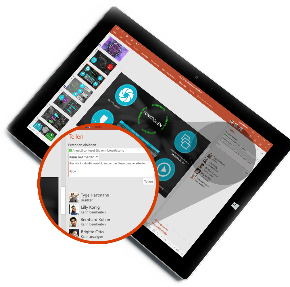 """Tablet mit dem neuen Bereich """"Teilen"""" und dem Kontakte-Hub, Informationen zu Dateianlagen in Outlook-E-Mails"""