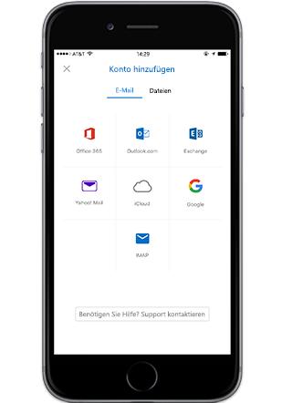 """Ein Smartphone mit dem Bildschirm """"Konto hinzufügen"""" in der mobilen Outlook-App"""