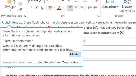 Nahaufnahme einer E-Mail mit einem Richtlinientipp, um zu verhindern, dass vertrauliche Daten gesendet werden.