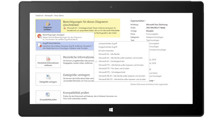 """Ein Tablet, auf dem die Seite """"Informationen"""" in Visio angezeigt wird. """"Diagramm schützen"""" ist ausgewählt."""