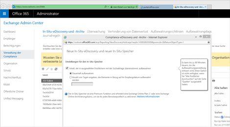 """Nahaufnahme der Seite """"Compliance-eDiscovery und -Archiv"""" im Exchange Admin Center"""
